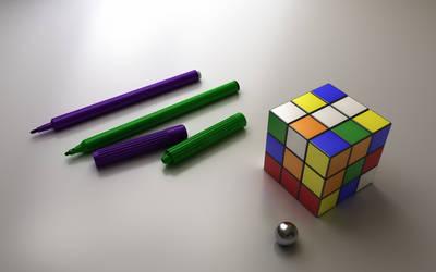 Pens + Rubiks Cube by QOAL