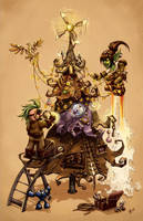 Goblin, Gnome and Tree by FreakyKitty