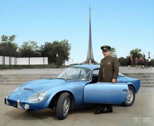 Yuri Gagarin with his Matra Bonnet Djet VS coupe by klimbims