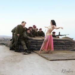 A belly dancer entertains British troops, Cyprus by klimbims