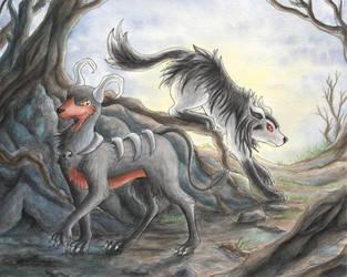 Houndoom and Mightyena by Shandria