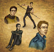 Urban Fantasy sketches (Vimes, Cal, Stark, Dean) by dawnsio-ar-y-dibyn