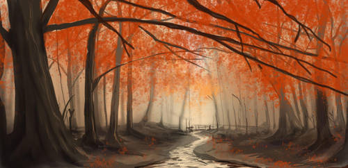Autumn Forest in Krita by farbenleere