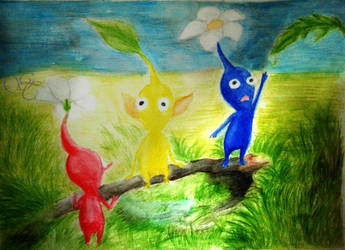 Watercolor practice - Pikmin by Giu-sama