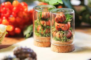 Mini pumpkins curio vials by Curionomicon