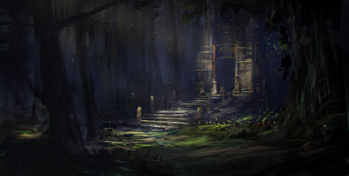 Quickpaint - Ancient Temple by ecsian