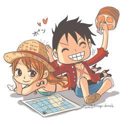 Luffy and Nami by kala-k