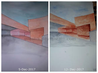 One Week Difference -My very first Watercolor work by Wirsha