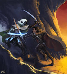 Drizzt and Entreri by cmalidore