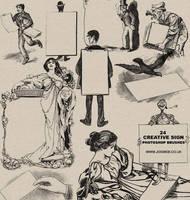 24 Vintage Print Sign  Brushes by gojol23
