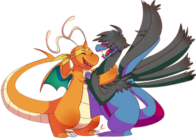 [Commission] - Dragon hugs by Riboo
