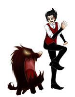 Don't Starve: Wilson and Hound by Discarbia