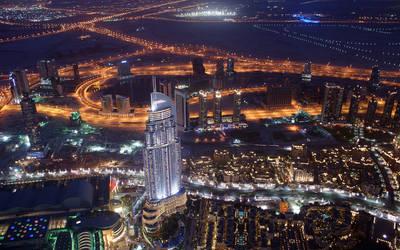 Dubai At Night (Burj Khalifa) Wallpaper Edition by skywalkerdesign