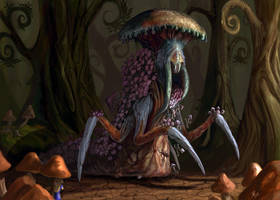 Alice finds the Mushroom King by Davesrightmind