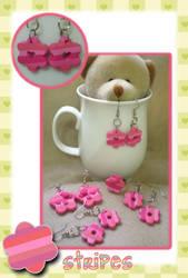 pink stripes earrings by jenyah