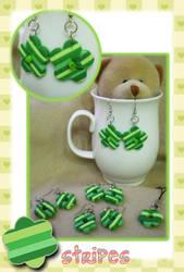 green stripes earrings by jenyah