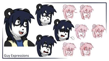 Panda Guy Expression Sheet by Flatty93