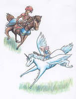 Pegasus Knight and Cabalier by Minaya