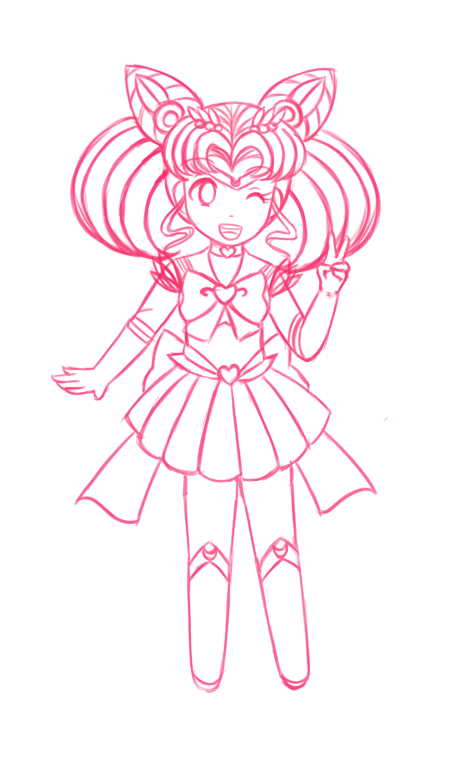 Sailor Chibi Moon sketch by Juliana1121