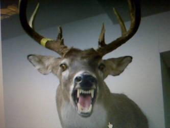 Deer head with fangs! by YiffyJaxx