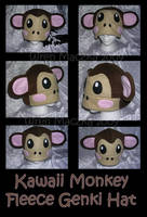 Kawaii Monkey Fleece Genki Hat by ZenAndCoffee