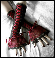 Dark Red Corset Arm Warmers by ZenAndCoffee
