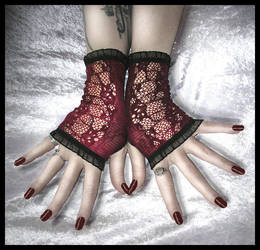 Red Lace Fingerless Gloves by ZenAndCoffee