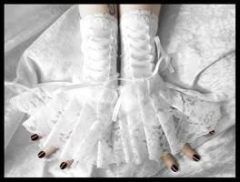 Imbolc Corset Laced Up Fingerless Glove Wrist Cuff by ZenAndCoffee