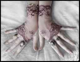 Cosette Lace Fingerless Gloves by ZenAndCoffee