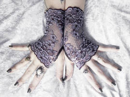 Euphrasie Long Lace Fingerless Gloves by ZenAndCoffee