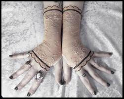 Malin Lace Fingerless Gloves by ZenAndCoffee