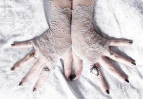 Dreams of Dust Long Lace Fingerless Gloves by ZenAndCoffee