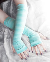Tiffany Aqua Mint Blue Striped Arm Warmers by ZenAndCoffee