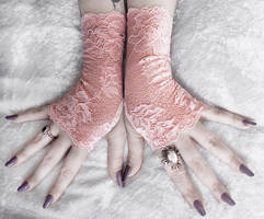 Narayah Long Lace Fingerless Gloves by ZenAndCoffee