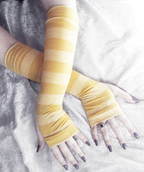 Mustard Yellow Striped Arm Warmers by ZenAndCoffee