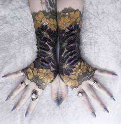Bijou Lace Fingerless Gloves by ZenAndCoffee