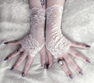 Nephele Long Lace Fingerless Gloves by ZenAndCoffee