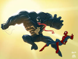 venom vs spiderman colored by Anny-D