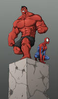 redhulk and spidey Colored by Anny-D