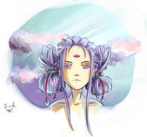 Purple haired girl by Cyraelh