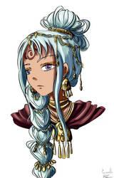 Jeune fille aux cheveux bleus by Cyraelh