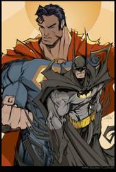 SuperMan and Batman by Rigonatti