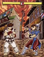 Ryu Vs Chun-Li Round 1 by Exeivier