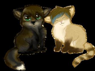 fox and kitteh by lunarflower11