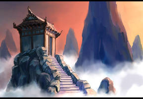 Mountain Temple by Aleana