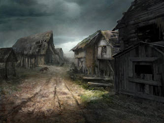 Ravaged village (concept-art for Reign of Guilds) by Lucy-Lisett