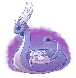 Dragonair and Dratini by Pace-Eterna