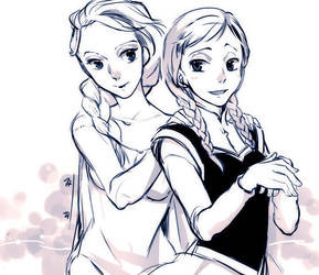 Elsa and Anna by zzigae