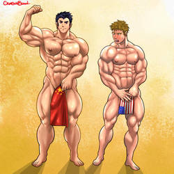 Commission : Muscle Competition by CrimsonBlood-Z