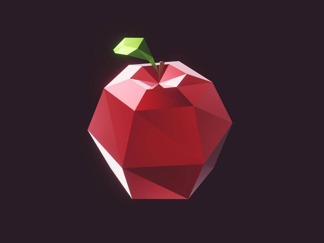 Lowpoly apple (gamedev) by romanpapush